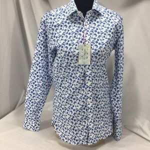 NWT Ted Baker White & Blue Floral Button Dwn Shirt